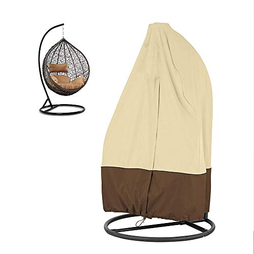 Patio Hanging Chair Cover Waterproof Heavy Duty Wicker Egg Swing Chair Covers with Zipper Garden Furniture Protective Cover (Wicker Offers Egg Chair Hanging)