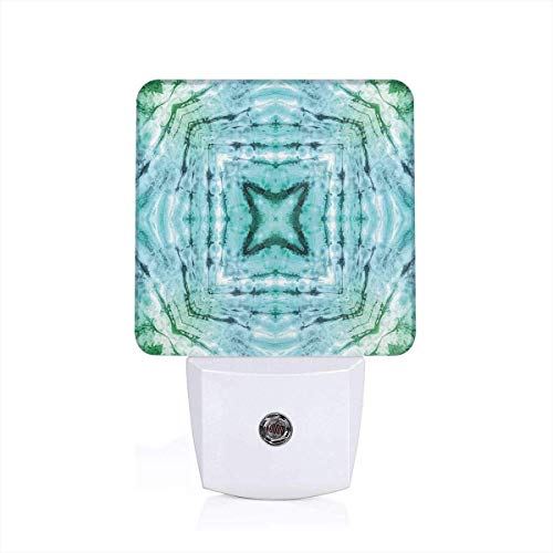 Square Shaped Kaleidoscope Tie Full Teal Blue 2 Pack Plug-in Led Night Lights with Auto Dusk to Dawn Sensor,Adjustable Warm White Lights for Bedroom, Nursery, Kitchen, Hallway,Stairway, Bathroom