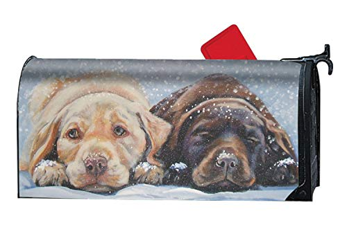 JuLeFan Labrador Retriever Dog Personalized Mailbox Cover Magnetic Spring Summer Fall Winter for Standard Mailboxes