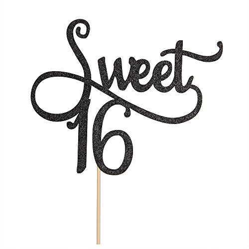 Black Glitter Sweet 16 Cake Topper -16th Birthday Cake Topper - Sweet sixteen Party Themes Decoration Supplies