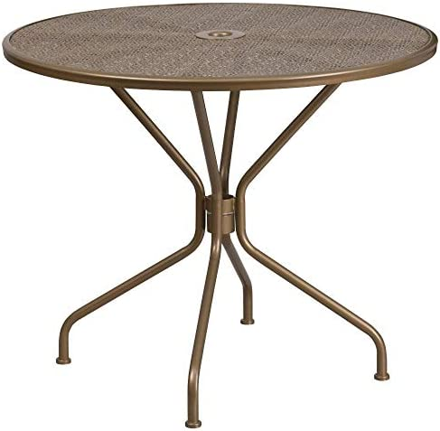 Flash Furniture Commercial Grade 35.25″ Round Gold Indoor-Outdoor Steel Patio Table
