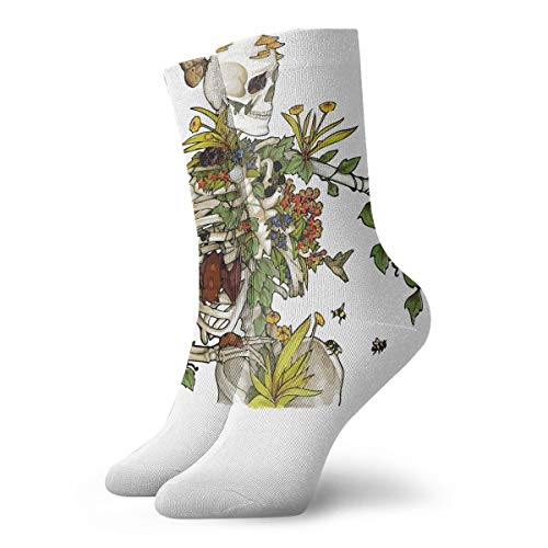 e2d7f851617f2 YIEOFH The Skeleton is Full of Flowers and Beautiful Novelty Boys Girls  Fashion Cute Funny Casual Art Crew Socks