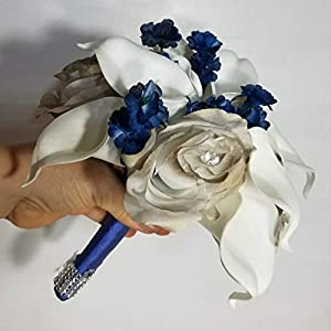 Champagne Navy Blue Rose Calla Lily Bridal Wedding Bouquet & Boutonniere 3