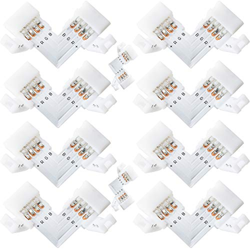 L Shape 4-Pin LED Connectors 10-Pack JACKYLED 10mm Wide Right Angle Corner Solderless Adapter Connector Terminal Extension with 22Pcs Clip Connectors for 3528/5050 SMD RGB 4 Conductor LED Light Strips