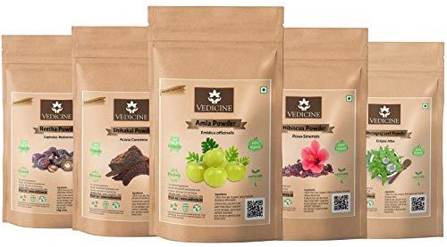 VEDICINE Pure and Natural Amla Reetha Shikakai Hibiscus Bhringraj Powder for Hair Pack (100gm each)