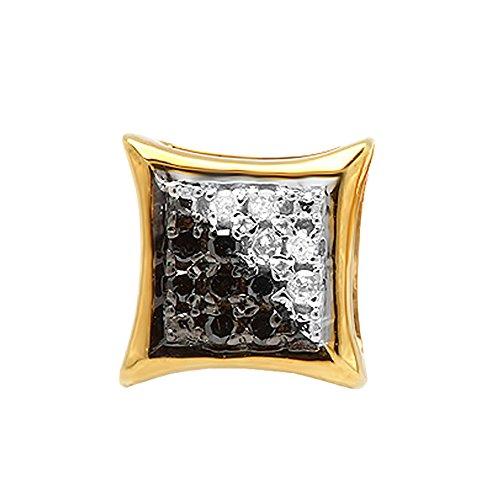- 0.03 Carat (ctw) 10K Yellow Gold Black & White Diamond Micro Pave Kite Shape Stud Earring (1pc)