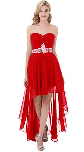 Poplarboy Damen Fashion Traegerlos Cocktailkleid HiLo Chiffon Lang ...