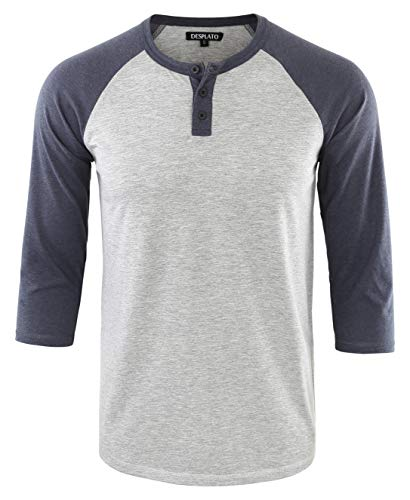(DESPLATO Men's Casual Vintage 3/4 Sleeve Henley Baseball Jersey Knit T Shirts H.Gray/C.Blue)