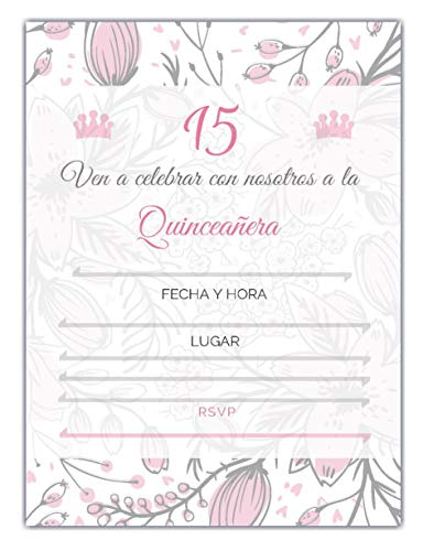 25 Quincenera Party Invitations with envelopes | Blank Fill-in Invites | 5 x 7 | 15th Birthday Party Favor | Sweet 15 | En Espanol | in Spanish ()
