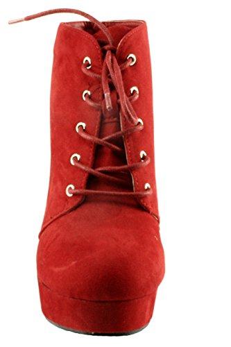 Per Sempre Camille-86 Finto Camoscio Lace-up A Punta Smussata Chunky Tacco Alto Con Plateau Stivaletti Alla Caviglia Rosso