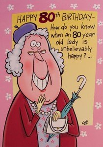 80th Humorous Birthday Card With Lilac Envelope