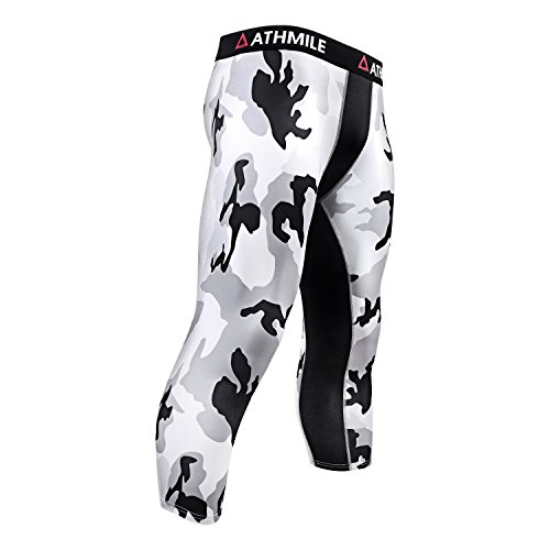 Athmile Mens Compression Leggings Pants,Baselayer Running Tights, 3/4 Cool Dry Sports Capri Pants,Camouflage, -