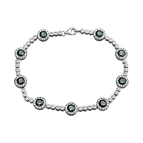 Bracelet Loi de 925m Argent. cercles rodiada émeraude [AA4267]