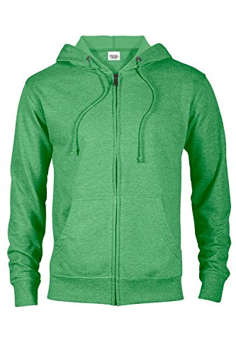 Casual Garb Hoodies for Men Heather French Terry Full Zip Hoodie Hooded Sweatshirt Kelly Heather Medium