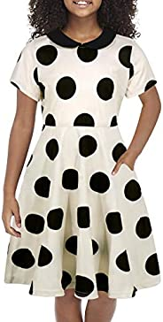 GORLYA Girl's Short Sleeve Casual Vintage Peter Pan Collar Fit and Flare Skater Party Dress with Pockets 4