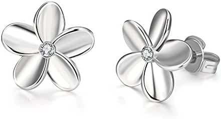 Fashion Simple Style Platinum Plated Flower Stud Earrings Czech Drill-Guillermo B.Randle