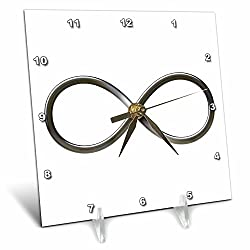 3dRose dc_24235_1 Infinity Symbol on White Background Desk Clock, 6 by 6-Inch