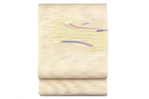 タワー羊飼い批判的名古屋帯 八寸名古屋帯 薄茶色 ベージュ 灰色 緑 四角 キャンパス 渦 波 透かし織り 絽 綴れ 三通柄 お太鼓柄 夏向け カジュアル なごや帯 8寸 仕立て上がり 松葉仕立て