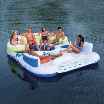 (Bestway CoolerZ Inflatable 7 Person Tiki Breeze Floating Island HUGE 13.12 X 10.17 Feet)