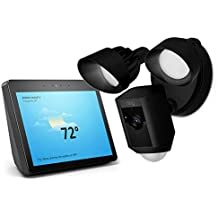 Ring Floodlight Camera Motion-Activated HD Security Cam Two-Way Talk and Siren Alarm - Black with Echo Show (2nd Gen) - Charcoal