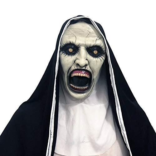 Yinrunx The Nun Mask, Hood Adult Scary Horrible Halloween mask for Women Costume Masquerade]()