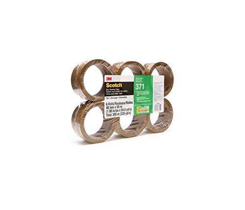 Scotch Box Sealing Tape 371 Tan, 48 mm x 50 m, Performance, Conveniently Packaged (Pack of ()