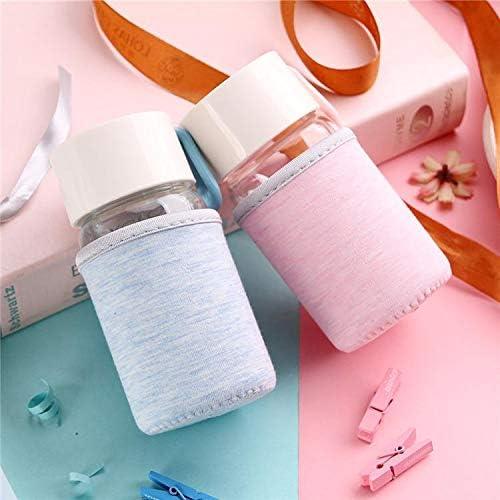 Aikesi Botella Agua Cristal Transparente Botella Agua Deporte con Antideslizante Aislamiento Cubierta Protectora Sin BPA 200ml Rosa