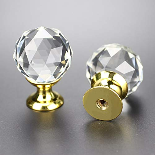 Armario LEICHI 12 pomos de Cristal Dorado para Armario Tiradores para Armario pomo para Cocina Puerta de Cristal