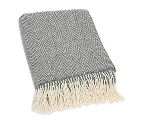 Biddy Murphy Merino Wool Blanket Irish Merino Wool and Cashmere Grey Herringbone 54 Inches Wide by 71 Inches Throw Fringed Long Super Soft Housewarming Made in Ireland