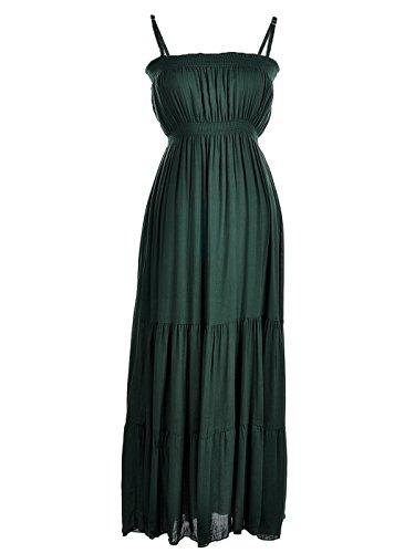 (Anna-Kaci Junior Womens Casual Spaghetti Strap Sleeveless Maxi Beach Dress, Green, Large)