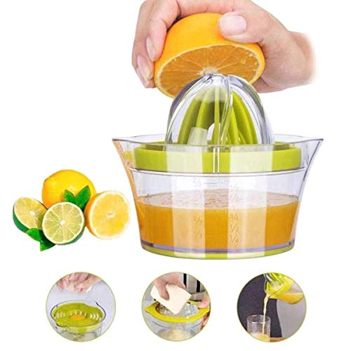 Citrus Lemon Orange Juicer, Manual Hand Squeezer with Built-in Measuring Cup and Grater 12OZ 4 in 1 Multi-function Manual Juicer with Multi-size Reamers, Egg Yolk Separator, Ginger Garlic Grater Green