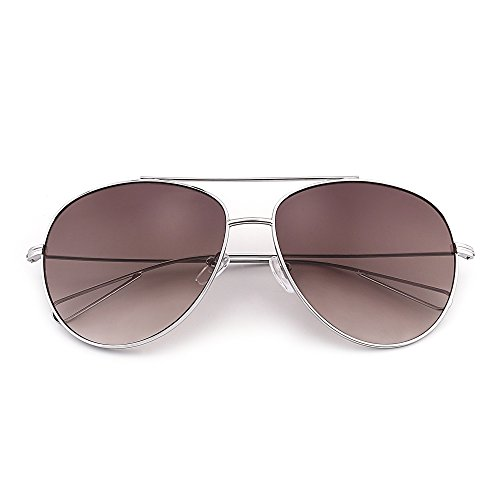 Oversized Aviator Sunglasses Men Women Double Bridge Hollow Temple Tips UV400 (Silver / Gradient - Teens Sunglasses Aviator For