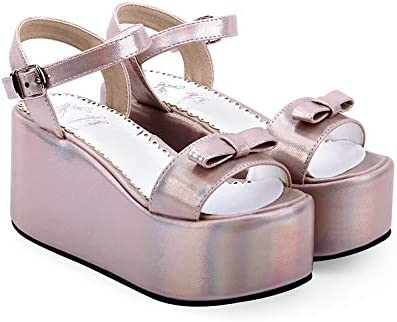 LANKOULI Lolita Chaussures D'Été Doux Sandales Sauvages À Talons Hauts Imperméable À l'eau Plate-Forme Éponge Gâteau Robe Sandales Cosplay Lolita 37
