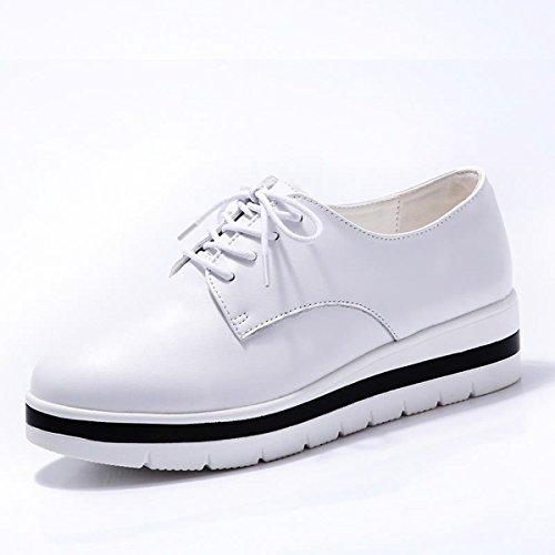 HBDLH Zapatos de Mujer/En Otoño E Invierno Zapatos Casuales Zapatos De Cuero Muffins Y Zapatos De Mujer Son Gruesas.Cuarenta Blanco Forty