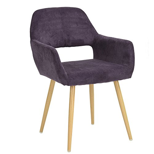 GreenForest Leisure Chair Mid Century Retro Style Thick Fabric Cushion Seat and Back, Accent Lounge Chair with Steel Tube Leg in Living Room, Purple - Retro Modern Furniture