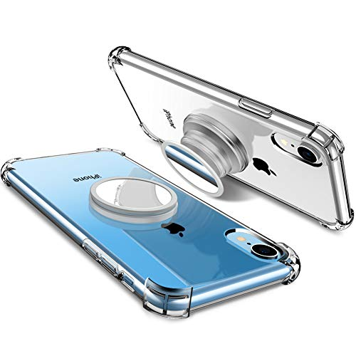 DIACLARA iPhone XR Clear Case with Stand Compatible with Apple 2018 [Multi-Uses in 1] Stress Relief Anxiety Toys/Mirror/Magnetic Available/Protection TPU Clear Cases with - Case Square Watch Design