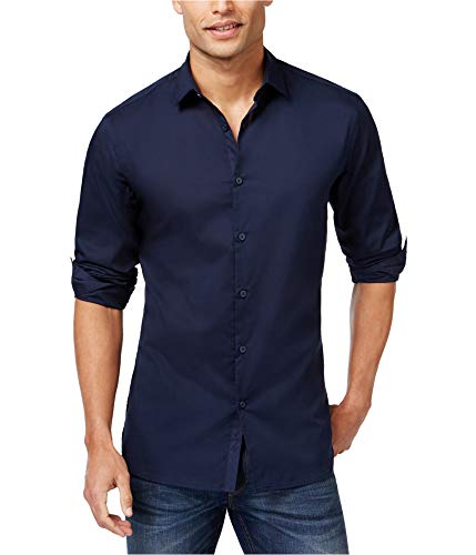 Alfani Navy Mens Large Solid Woven Button Down Shirt Blue L from Alfani