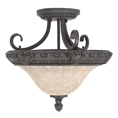 Yosemite Home Decor F023F03SB Verona Three Light Ceiling Semi-Flush Mount, Sienna Bronze - Verona 3 Light Vanity