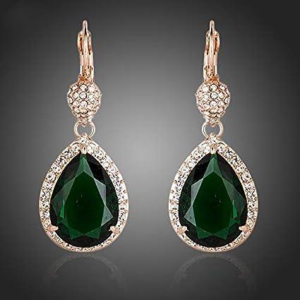 NOBRAND Pendientes De Mujer Noble Oro Rosa Color Verde Oscurocon Pendientes De Gota De Agua De Cristal Envolvente