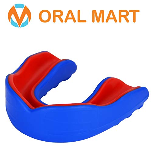 (Oral Mart Blue/Red Adult Mouth Guard - Adult Sports Mouth Guard for Karate, Boxing, Sparring, MMA, Football, Field Hockey, BJJ, Muay Thai,Soccer, Rugby, Martial Arts)