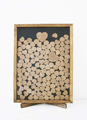 (Wooden Frame Alternative Wedding Guest Book - 100% Natural Pine Wood - Wedding Decor with 100 pcs Wooden Hearts)