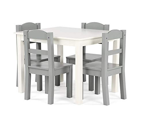 Tоt Tutоrs Springfield Collection Kids Wood Table & 4 Chair Set, White/Grey