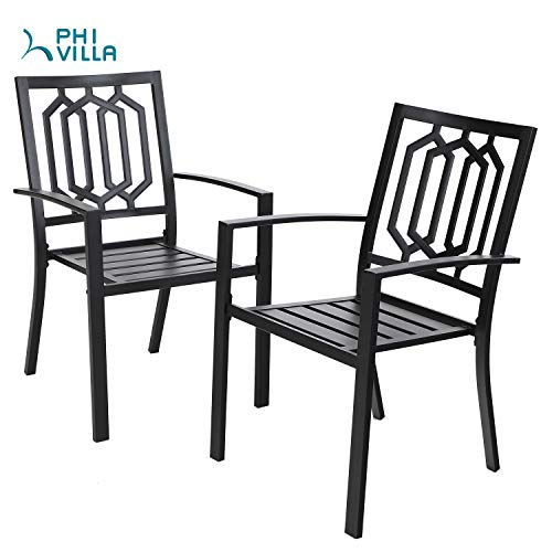 PHIVILLA Black Metal Patio Outdoor Dining Chairs Set of 2 Stackable Bistro Deck Chairs Set for Garden Backyard Lawn Support 300LB