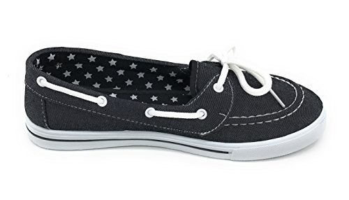 Blue Berry EASY21 Canvas Schnürschuh Flacher Slip on Boot Bequemer Toe Sneaker Tennisschuh Schwarzer Denim