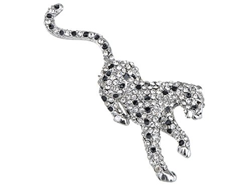 Alilang Womens Crystal Pouncing White Snow Leopard Tiger Cheetah Wild Cat Animal Lapel Brooch Pin -