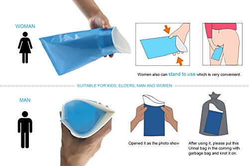 GGBuy Disposable Urine Bags Camping Pee Bags for Travel Urinal Toilet Super Absorbent Traffic Jam Emergency Portable Urine Bag Pee Bags Car Toilet for Men Women Children Brief Relief, 10 Pcs by GGBuy (Image #3)