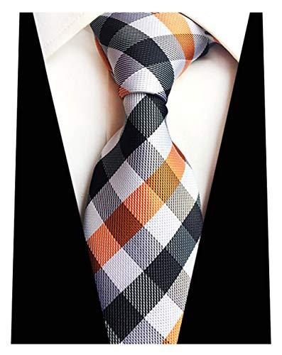 MINDENG Tartan Wool Tie Blue Orange Black Check Business Mens Silk Neckties - Tartan Wool Tie