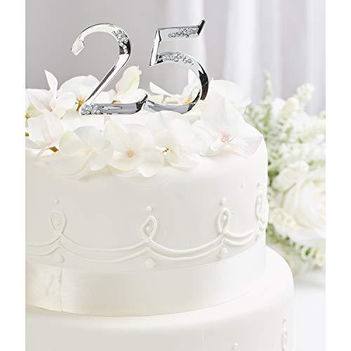 Simplicity Silver 25th Anniversary Cake Topper, 1pc, 5