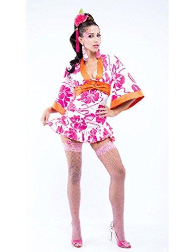 [Paper Magic Womens French Kiss Geisha Costume, Pink/White, Large] (French Kiss Costume)