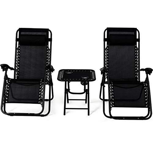 (Kaputar 3 pcs Folding Zero Gravity Recliner Lounge Chairs Table Set Camping Beach Black | Model CMPNGCHR - 106)